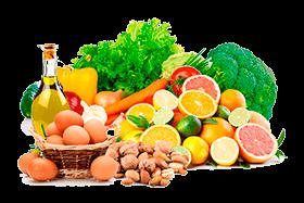 Muestra de nuestros productos ecológicos: fruta, huevos, aceite, frutos secos, hortalizas y verdura, todo ecologico